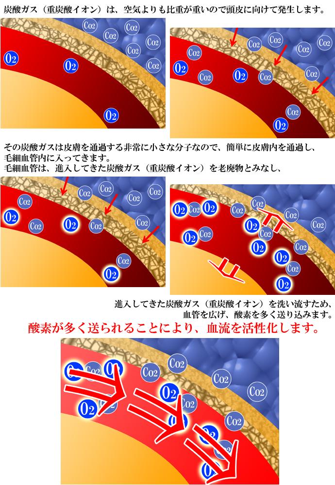 炭酸ヘッドスパの血行促進